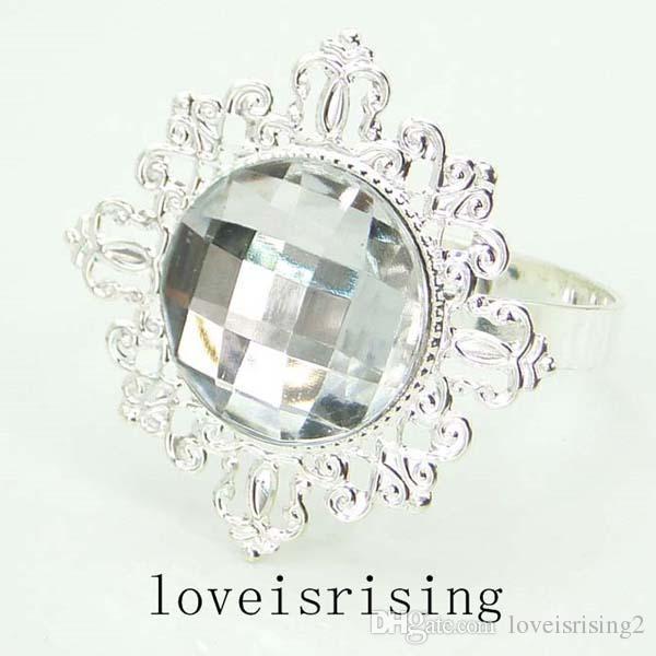 pick--Acrylic Gem Silver Metal Rings Napkin Rings Wedding Banquet Dinner Decor Napkin Holder