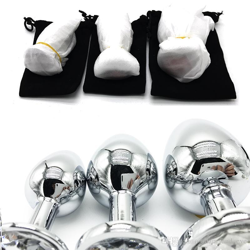 Tamanho médio de Metal Plugue Anal Rosebud Jóias Butt Plugs Inserção de Prata de Aço Inoxidável Anal Sex Toys para Casais
