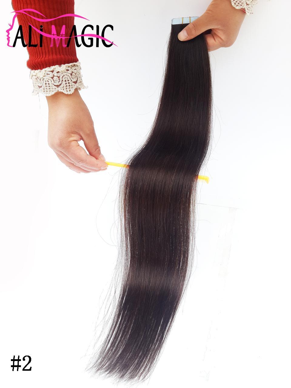 2019 شريط جديد في الشعر البشري extensiopns مستقيم أحلك البني البني لحمة الشريط الشعر 100G 20 '' 22 '' 24 بوصة
