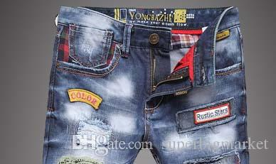 Christmas gift for!!TOP Mens Jeans Fashion Torn Jeans Patched Holey Washed Words Straight Leg Fitted