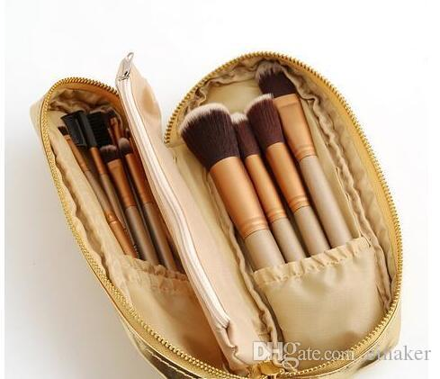 NEW Arrival Nude Makeup Brushes Nude Professional Brush sets Gold package DHL