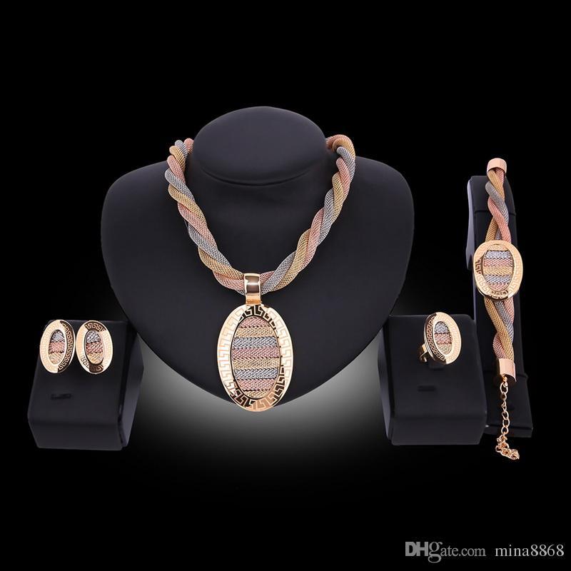 Оптовая Африканский Костюм Набор Кос Провода Серьги Кольца Браслеты Ожерелье Набор Партии Мода Женщины Позолоченные Дубай Ювелирные Наборы