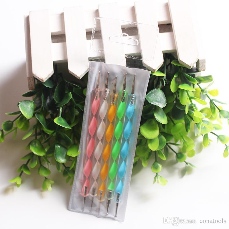 / 2 Way Coloré Nail Art Dotting Styling Marbleizing Outils Professionnel Vernis À Ongles Peinture Diamant Strass Manucure Pédicure Kit