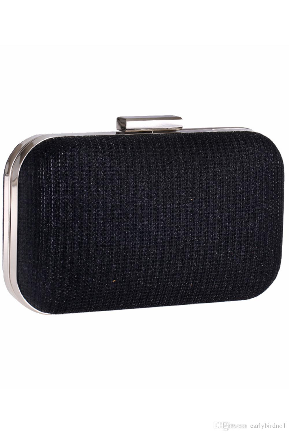 Shiny Glitter Silver Black Bridal Hand Bags Clutch Bags For Formal Party Occasions with Chains Ladies Minaudiere Bags CPA956