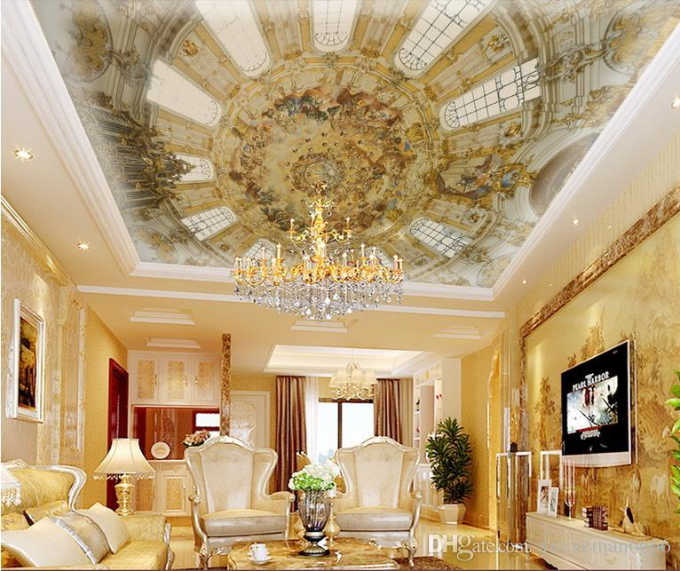 3D потолочные фрески обои европейский настроить фото 3D потолок роскошный европейский купольный зал нетканые обои для потолков