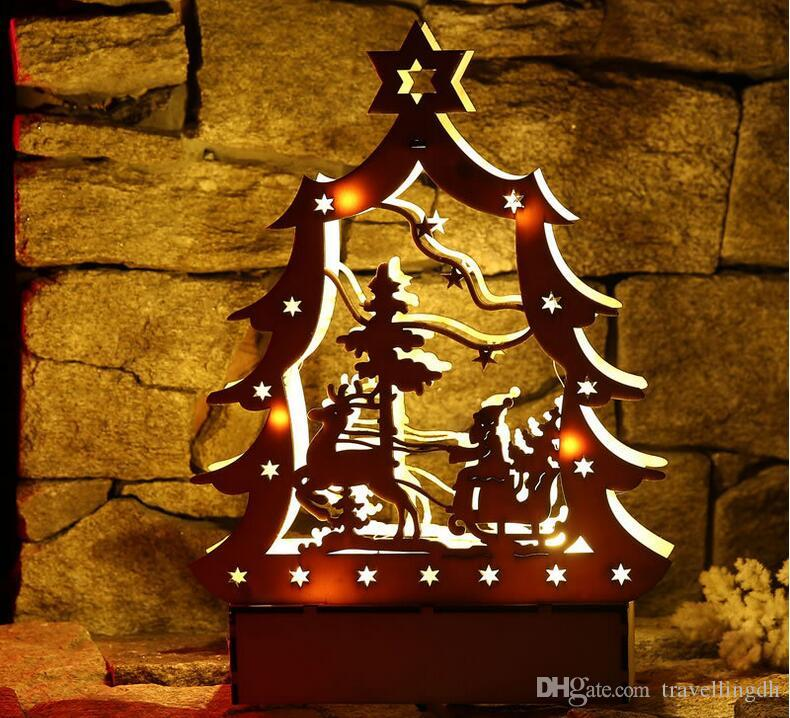 Christmas Decoration LED Lighting Small Wooden House wall hanging Xmas Tree Pendants Ornaments Christmas Party Decorations Gift