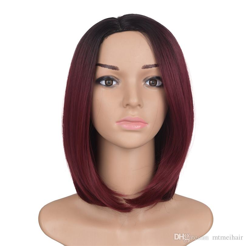 Perruques synthétiques courtes ombre bob droites Perruques résistantes à la chaleur pour les femmes noires Mtmei cheveux ombre deux tons couleur cheveux