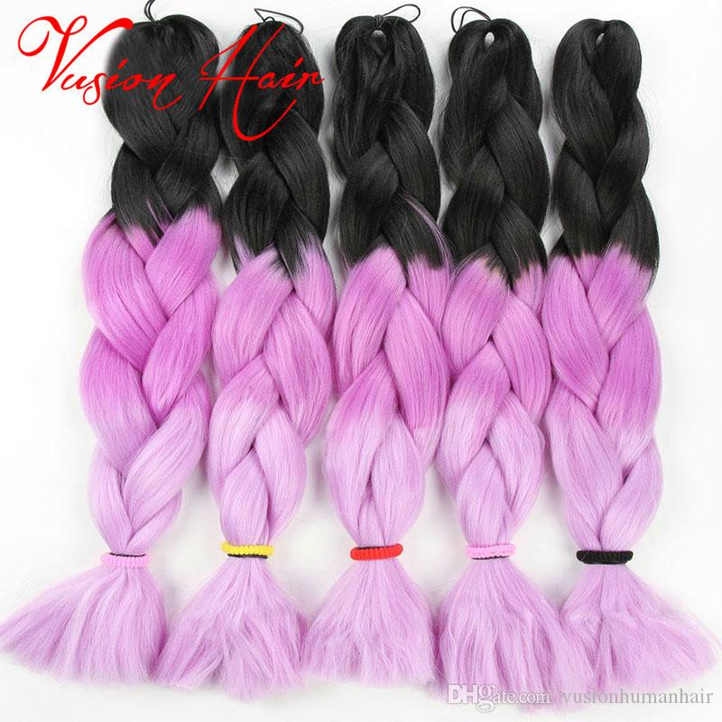 Three Colors Ombre Synthetic Xpression Braiding Hair 24inches 100g/pack Jumbo Braids Kanekalon Xpression Braiding Hair Crochet Braids Hair