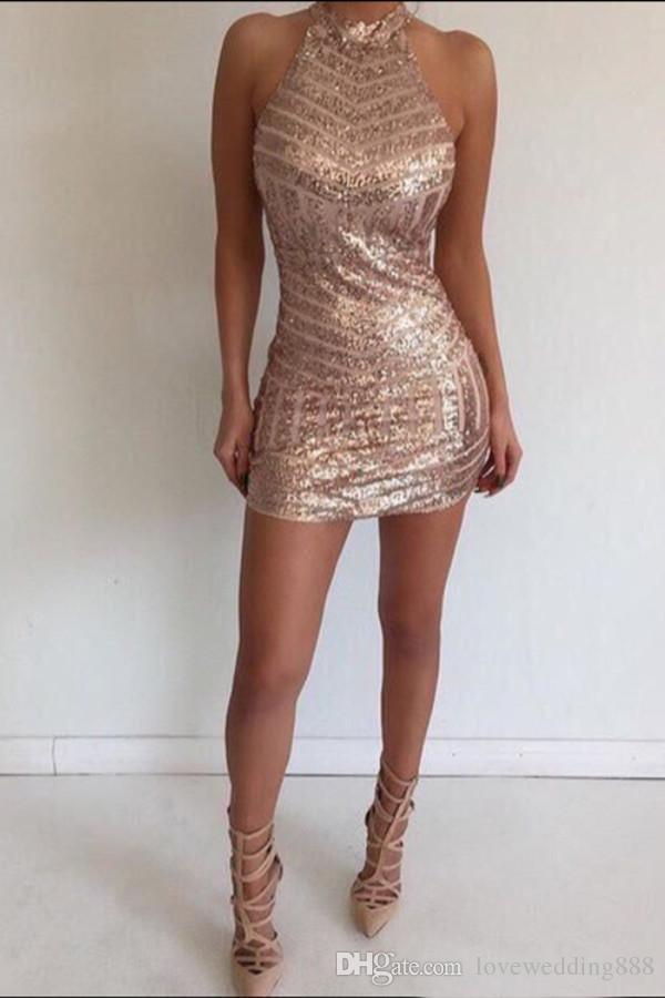 2019 brillante Rose Gold Sequin longueur au genou Cocktail Dress Halter Dos Nu Sexy Tight Short Robe de Retour