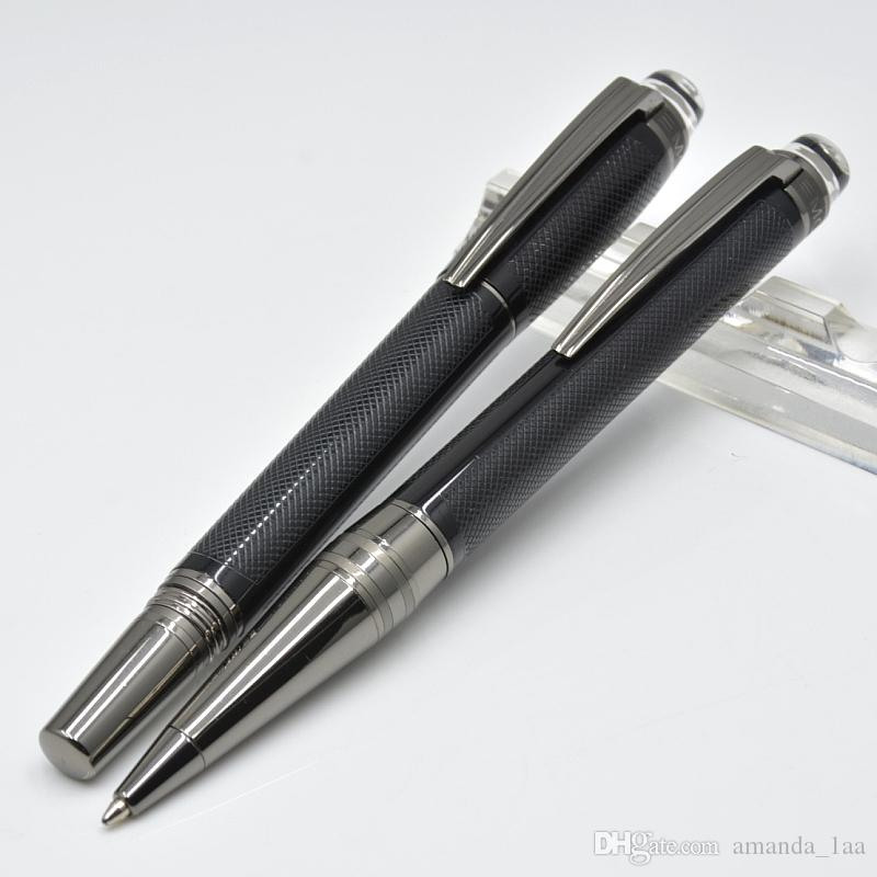 Lüks Kristal düz üst tasarım siyah tahıl rulo tükenmez kalem / tükenmez kalem kırtasiye ofis okul malzemeleri marka yazma kalemler