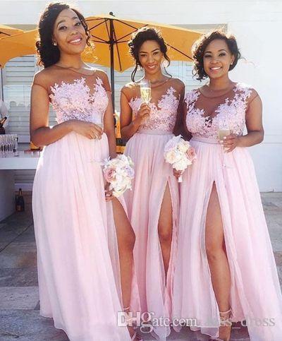 Sheer Pink Long Lace Bridesmaid Dresses Applique Pleats Floor Length Front Split Cap Sleeve Chiffon Wedding Formal Evening Party Gowns B86