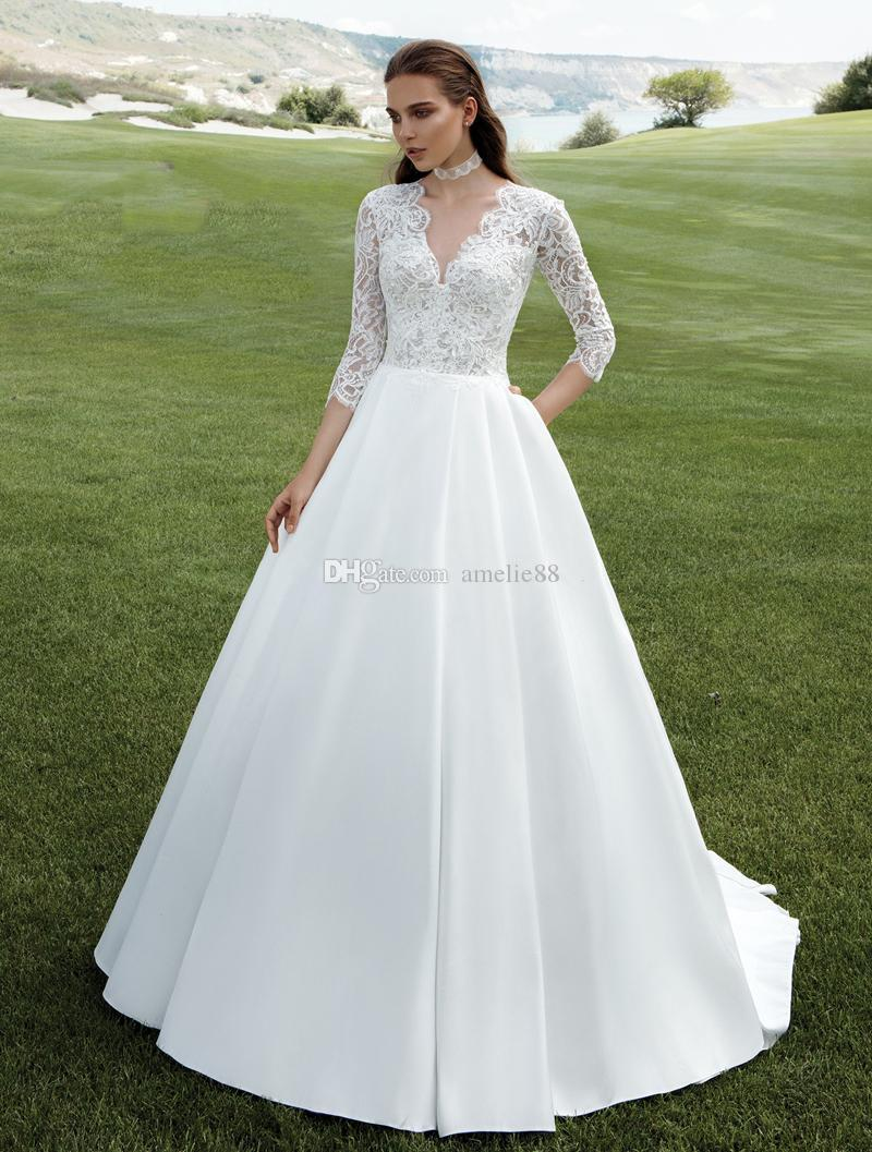 2017 satin ball gown wedding dresses 3 4 long sleeves lace for 3 4 sleeve ball gown wedding dress
