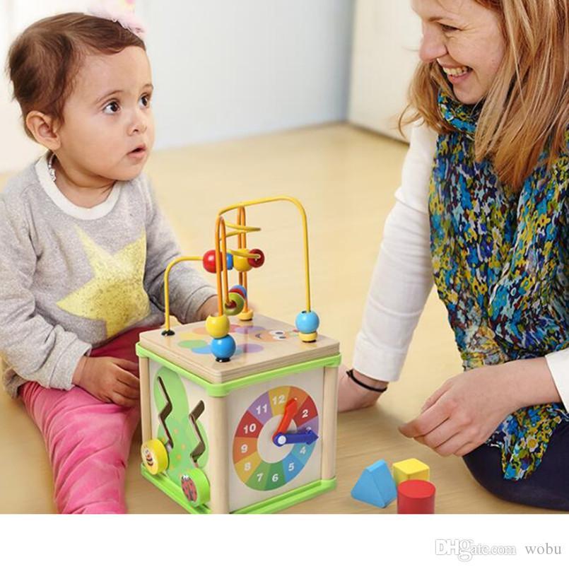 Montessori juguetes educativos Montessori materiales de madera alrededor de cuentas niño juguetes de inteligencia infantil bebé niños juguetes con caja