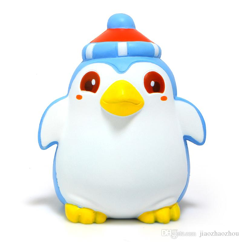 New Brand 12CM Jumbo Kawaii blue Penguin Squishy Slow Rising Phone Straps Soft Sweet Charm Scented Bread Cake kid Toy Gift