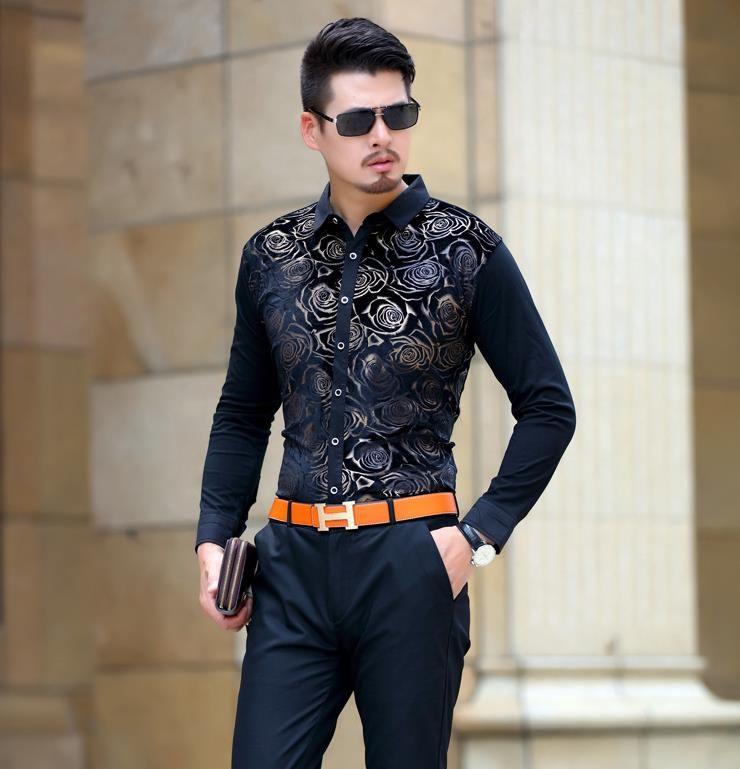 Shirts For Men Long Sleeve Velvet Dress Shirt Man Business Chemise Masculina Camisa Vetement Homme Soft Fashion