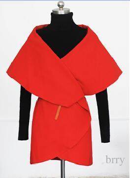 Wholesale-Hot Sale New Arrival Autumn Brand Casual High Street Korean Style Pleated Women's Fashionable Lapel Dip Hem Orange Coat