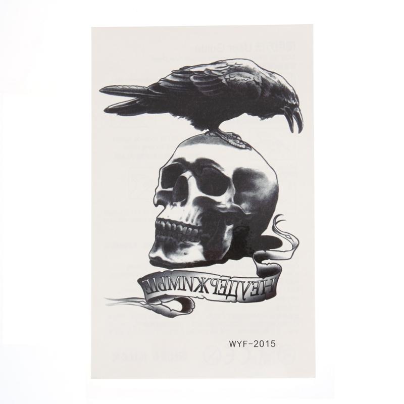Dark Eagle Crow Cráneo Esqueleto Temporal Tatuaje Pegatinas Mujeres Hombres Body Art Tattoo Pasta Fake Negro Impermeable Tatuaje Brazo Arte