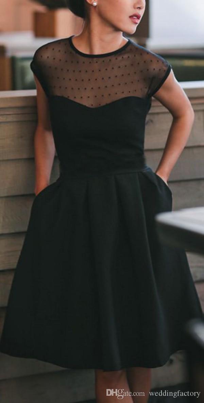 Piccoli abiti da cocktail neri Sheer Jewel Neck punteggiato Tulle Abito da sera corto al ginocchio con tasche Economico di alta qualità