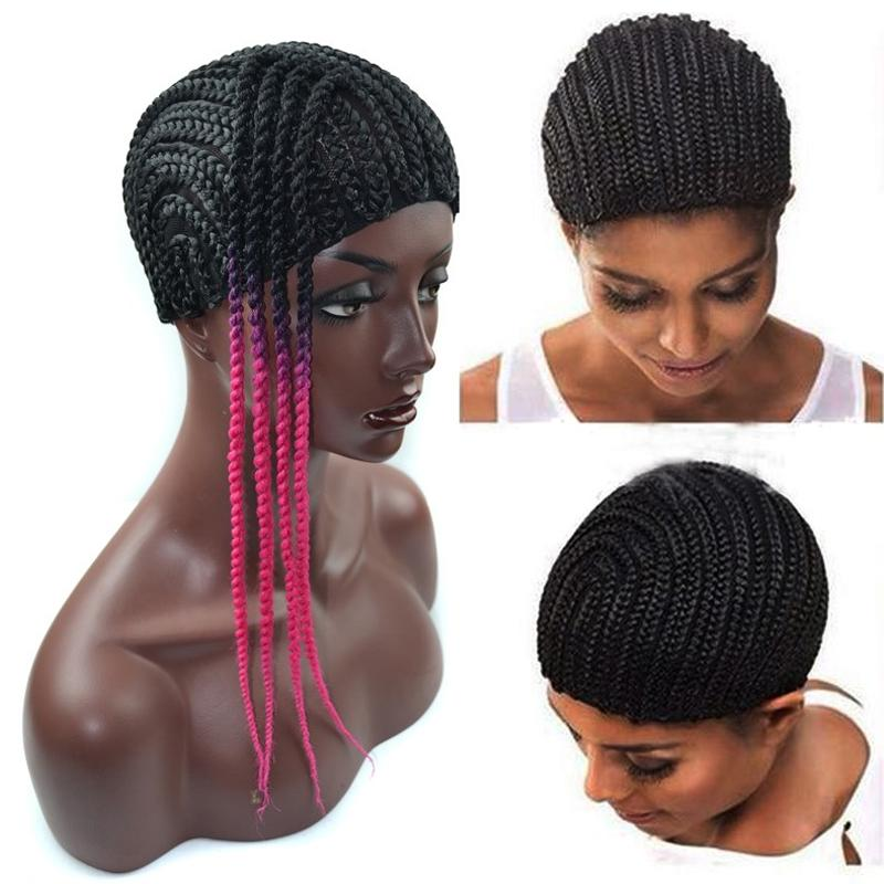 Black Braided Wig Caps For Making Wigs Cornrows Crochet Wig Caps Small Medium Large Glueless Dome Hairnet Liner Elastic Mesh For Black Women
