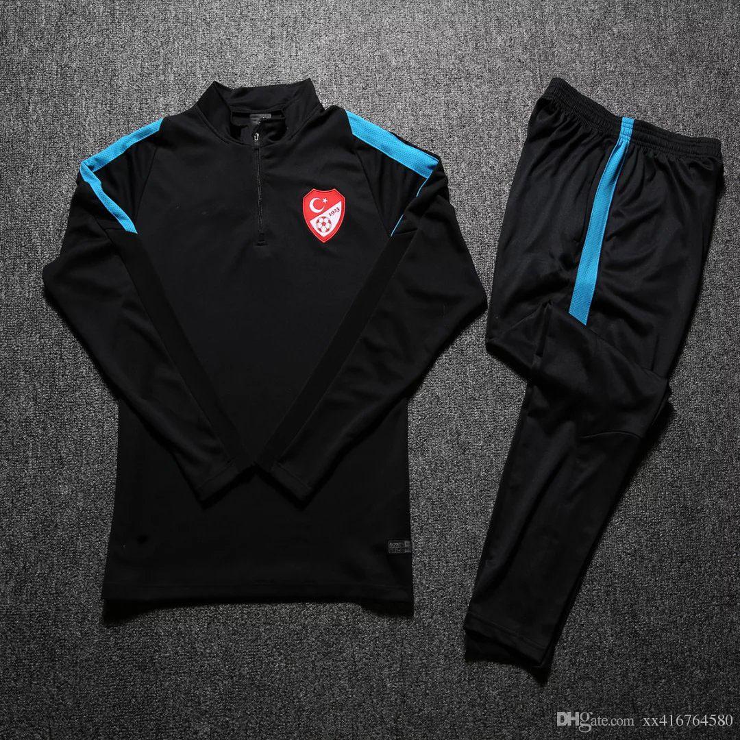 Acheter Nouveau 2017 2018 Black Turkey Survetement Soccer Survêtements Veste  De Formation Sweatshirts + Pantalons De Football Football Vêtements  Ensembles ... f5b4a817730