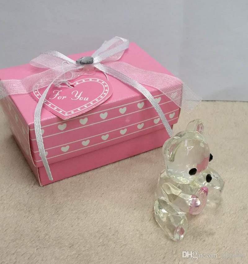 Cystal Baptismo Gifs Lembranças Do Chuveiro Do Bebê favorece Crystal Collection Teddy Bear Artesanato Favores com Rosa azul Atacado
