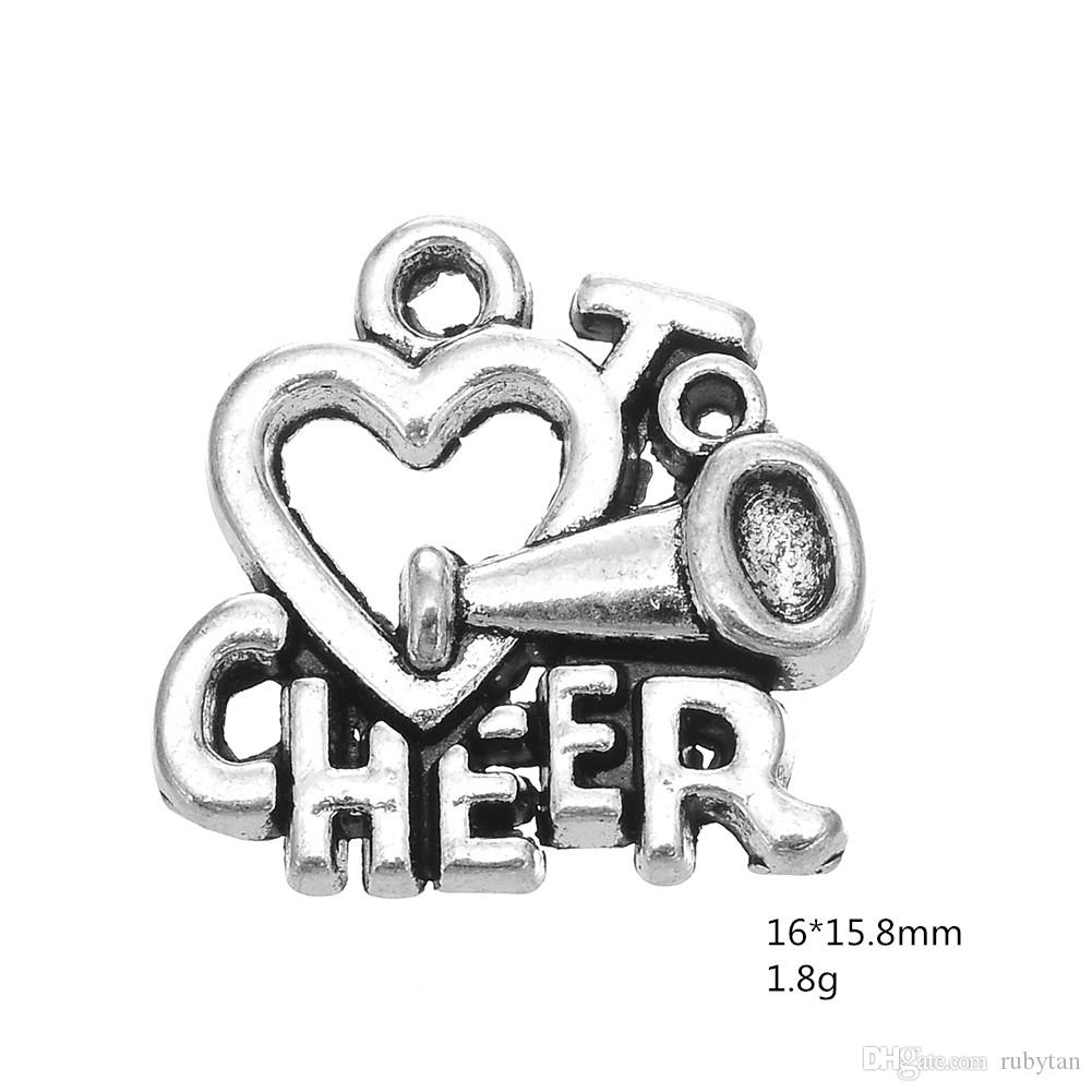 """3 Style Lettering """"Cheer"""" loudspeaker Alloy Charms Dangle Hanging Charm DIY Jewelry Accessories Charms Jewelry"""