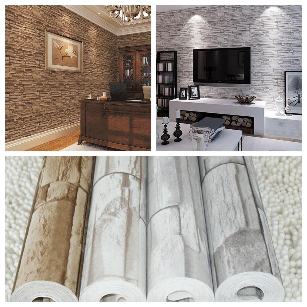 3d Pvc Modern Brick Wallpaper For Living Room Vintage Brick  -> Papel De Parede Para Sala Rock N Roll