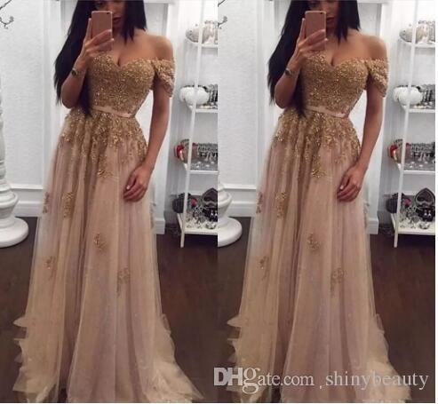 Off Shoulder Sweetheart Beaded Sequins A Line Champagne Tulle Sexy Hot Beautiful Evening Dresses Prom Dresses