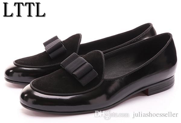Yeni Deri ve Süet Papyon Erkekler El Yapımı Ayakkabı Ile Dikiş Lüks Flats erkek Ziyafet Parti Loafer'lar Ayakkabı