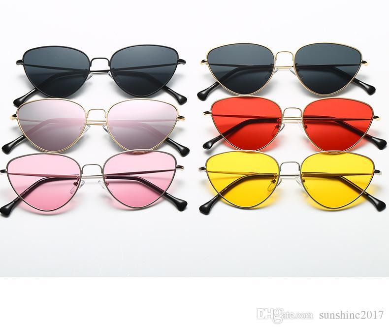 Luxe kadın kırmızı güneş gözlüğü ile kadınlar altın metal Kedi Göz Güneş Gözlüğü renkli Renk Lens kadın sarı şekilli güneş gözlüğü 2019 eğilim gözlük