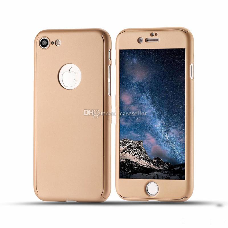 360 grau de cobertura total de proteção com vidro temperado duro pc capa case para iphone xs max x 8 plus 6 s plus 5S se
