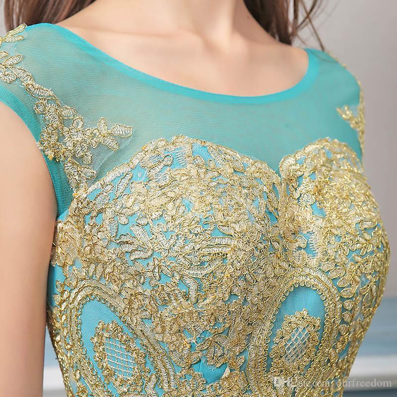 Robe De Soiree Elegant Royal Blue Chiffon Formal Evening Dresses Gold Lace 2019 Mermaid Prom Gowns Lace Up Prom Dresses XU039 Back