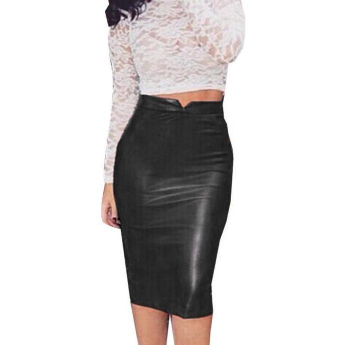 17716d610828 VD8016 Frauen Pu-leder Rock Solid Black Hohe Taille Dünne Bleistift Röcke  Vintage Bodycon Midi Rock Sexy Clubwear Röcke
