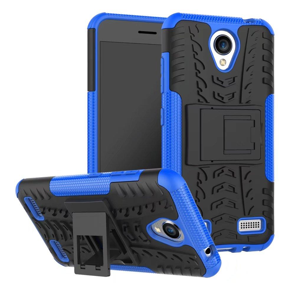 quality design a2923 1c511 Dual Layer Rugged Robot Defender Kickstand Case for ZTE Blade A520 A510  Back Hard Skin Cover Shockproof