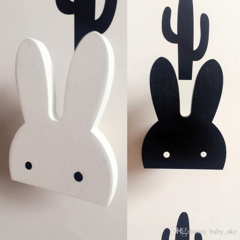 rabbit hook bunny wall stickers decor baby living room black white
