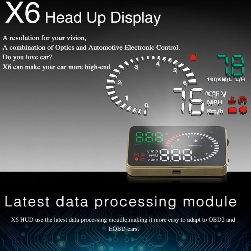 Wholesale- OBD II Interface X6 3 Universal Auto Car HUD Head Up Display  Overspeed Warning Windshield Project Alarm System Fuel Consumption