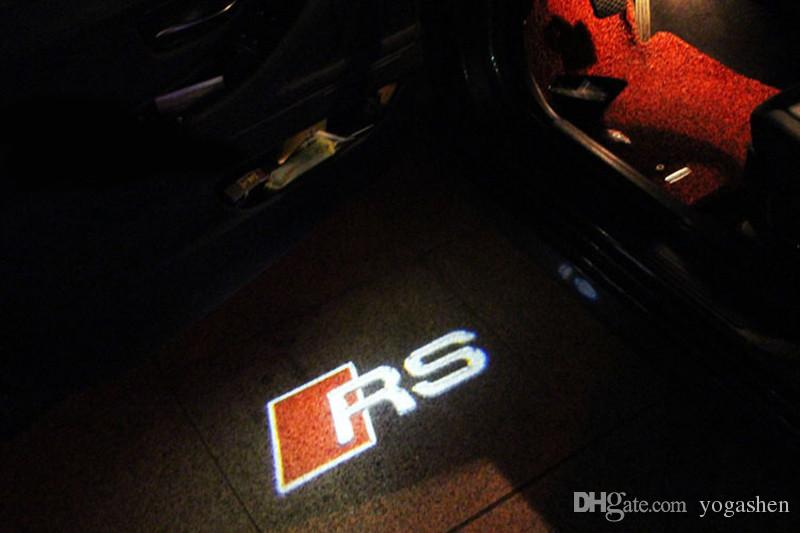 LED Door Warning Light With For RS Logo Projector For Audi A6 C5 A4 B6 B8 80 A1 A8 TT Q7 Q5 Q3 A3 A5 A7 R8 RS S line S3 S4 S5
