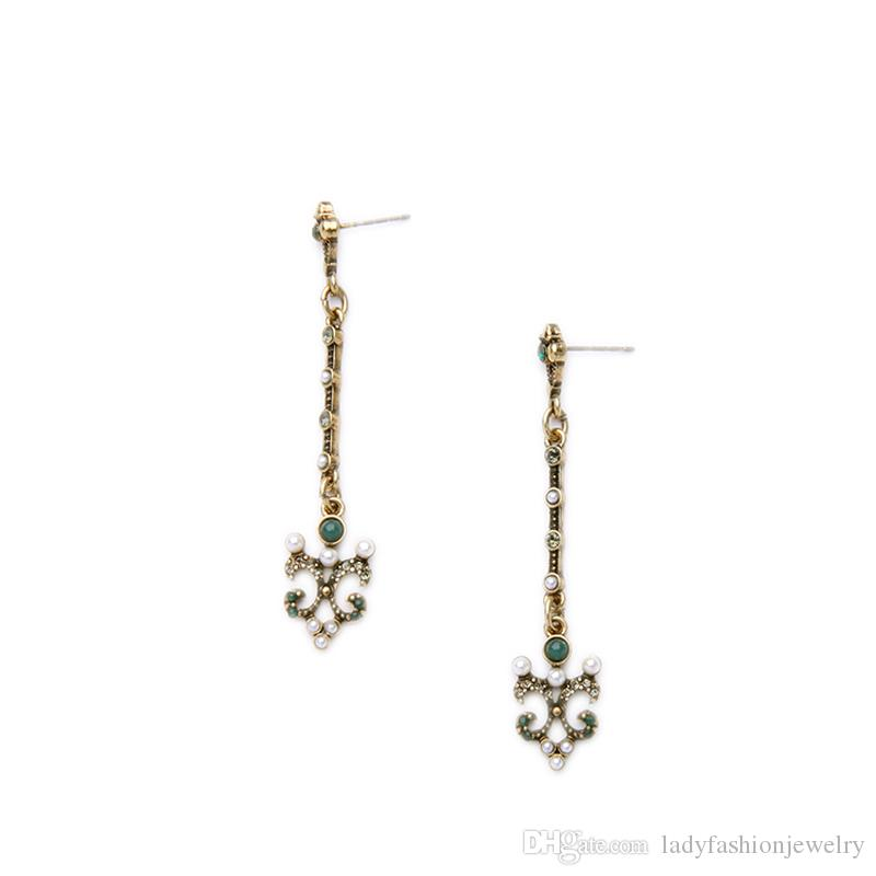Fashion Wholesale Accessories Vintage Antique Bronze Alloy Rhinestone Pearl Flower Long Dangle Chandelier Earrings Aretes Jewelry