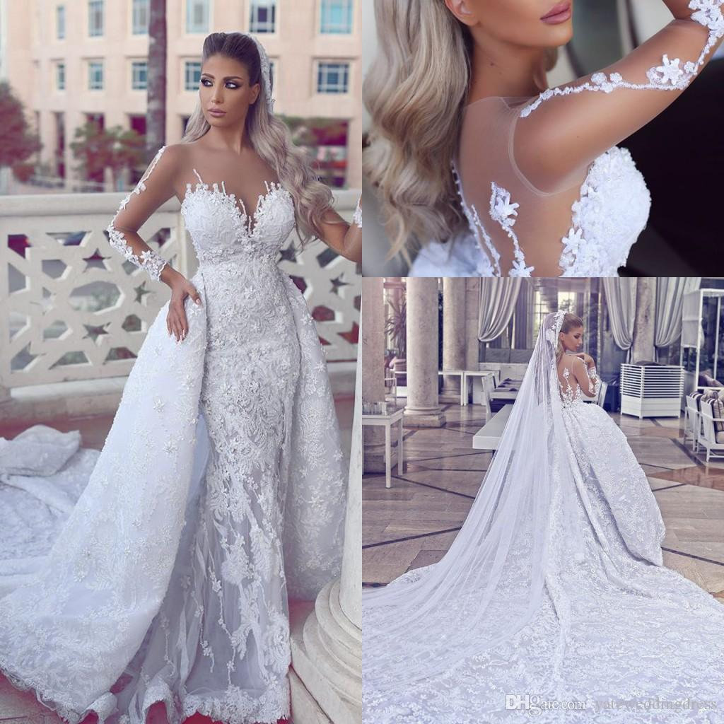 Noble White 2017 Jewel Sheer Neck Long Sleeves Wedding Gowns Back