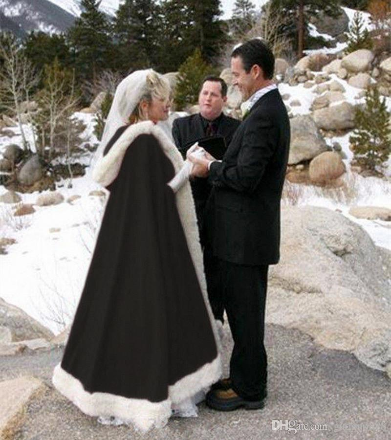 Chic Warm Bridal Cape Custom Made Wedding Cloaks Hooded With Faux Fur Trim Tippet Tea-Length Winter Stole Long Wraps Jacket