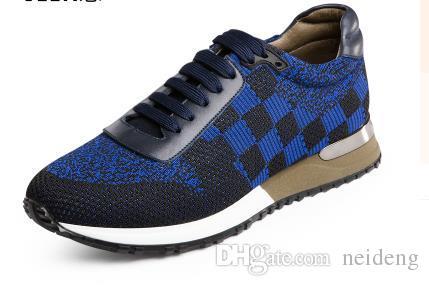 2017 Nuevo outdoorr Hombre Ocio Zapatillas de deporte de Lujo Diseñador de la Línea de la Mosca Tejido con cordones A Cuadros Deportes Zapatos Para Correr Zapatos