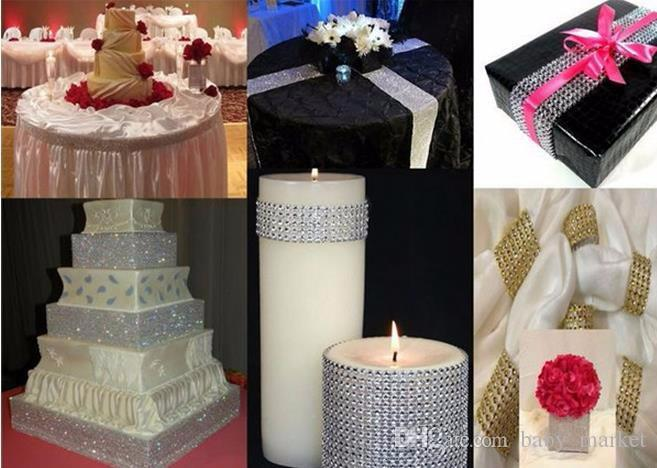 4cm*2meter Bling Diamond mesh Wrap ribbon silver Rhinestone Mesh Roll Tape Tulle Crystal Ribbon cake wedding decoration /