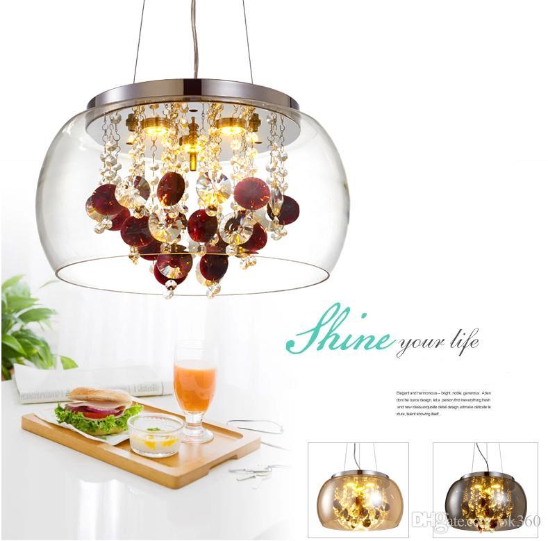 Modern Cam Abajur Kristal Topları / Kelebek Oturma Odası Tavan Kolye Işık Yemek Odası Sarkıt Restoran Asılı Aydınlatma