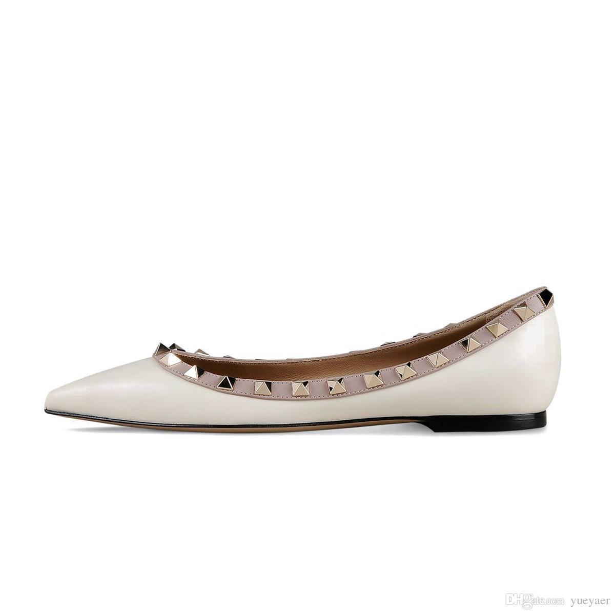 Zandina Frauen Handcrafted Fashion Ballerina Flache Schuhe Balletts Pointy Studded Slip Auf Flache Partei Pumpen Gelb