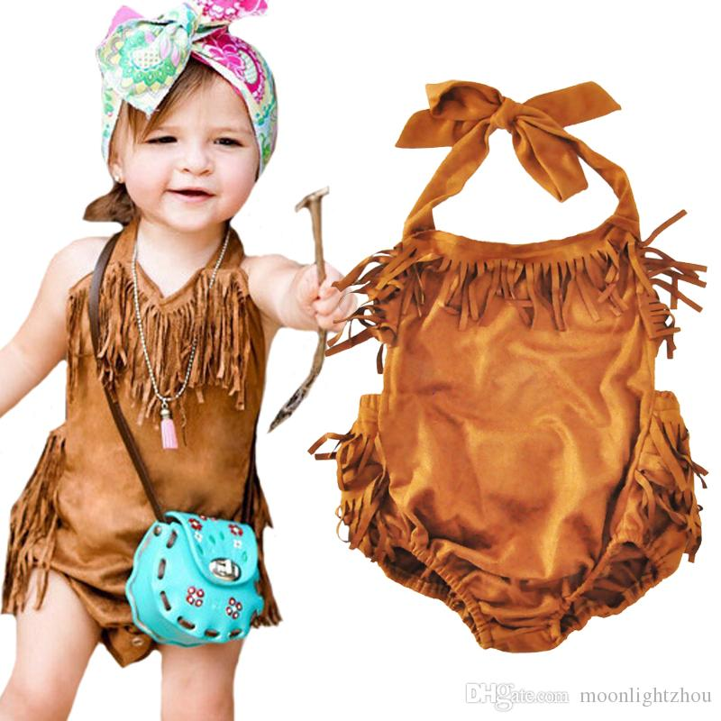 fa7639ee8610 2019 Baby Girls Tassels Rompers New 2017 Summer Sleeveless Halter Cute  Newnorn Romper Jumpsuits One Pieces Bodysuit Kids Infant Girl Clothes From  ...
