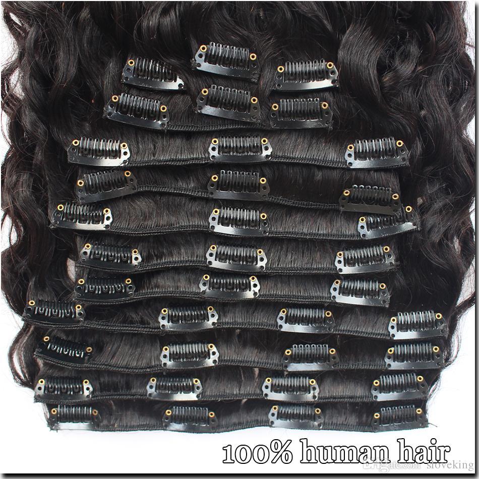 Clip de onda de agua peruana completa en Clip de pelo humano en extensiones Clip de onda ondulada en Extensión de pelo afro para mujeres negras 8 piezas / Set