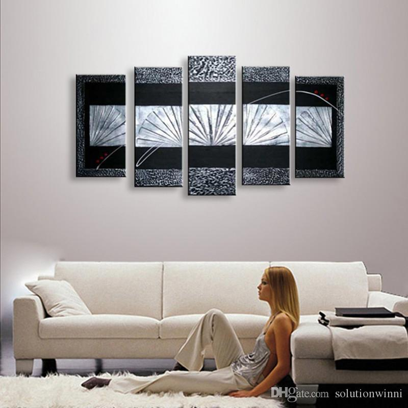 Hand Painted Black Oil Painting On Canvas Modern Abstract Home Decor Graffiti Line Acrylic Paintings 5 Panel Pictures Wall Art