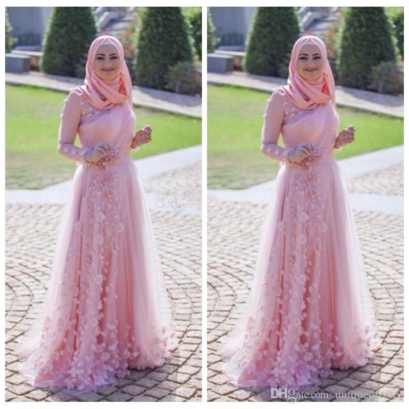 2018 Muslim Dresses Evening Wear Arabic Pink A Line Long Sleeves Pleats Plus Size Prom Dress With Hand Made Flowers Fomal Party Gown