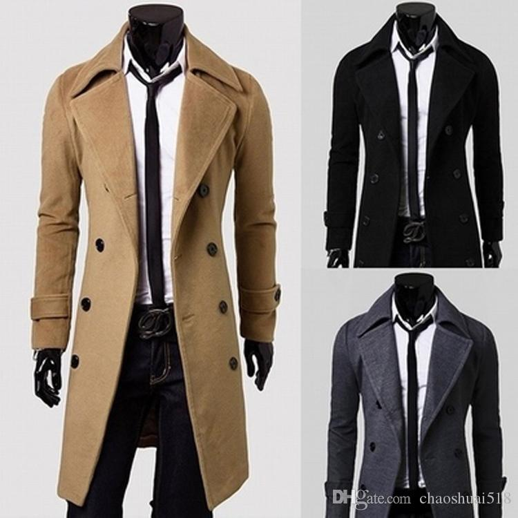 2018 New Brand Winter Mens Long Pea Coat Men'S Wool Coat Turn Down ...