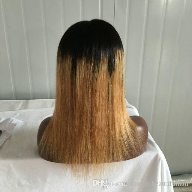 Full Lace Brazilian Ombre Bob Wig Two Tone 1b/27 Human Hair Bob Wig Glueless Lace Front Brazilian Silky Straight Bob Wig